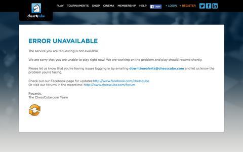 Screenshot of Login Page chesscube.com - Error unavailable - ChessCube ChessCube - captured Dec. 11, 2015