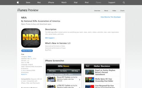 Screenshot of iOS App Page apple.com - NRA on the App Store on iTunes - captured Oct. 23, 2014