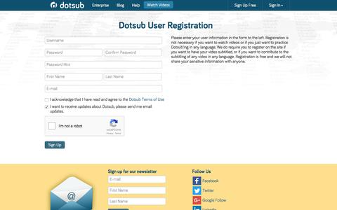 Screenshot of Signup Page dotsub.com - The leading way to caption and translate videos online | Dotsub - captured June 5, 2017