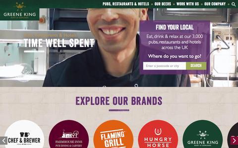 Screenshot of Home Page greeneking.co.uk - Greene King | Home - captured July 19, 2016