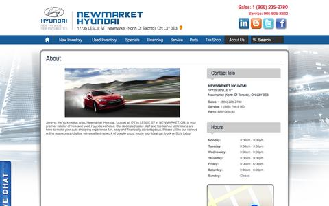 Screenshot of About Page Hours Page newmarkethyundai.com - Newmarket Hyundai   Used Hyundai dealership in Newmarket (North Of Toronto), ON L3Y 3E3 - captured Oct. 25, 2014