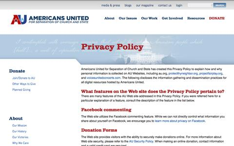 Screenshot of Privacy Page au.org - Privacy Policy | Americans United - captured Oct. 4, 2016