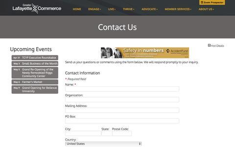 Screenshot of Contact Page greaterlafayettecommerce.com - Contact Us - Greater Lafayette Commerce,IN - captured April 26, 2017