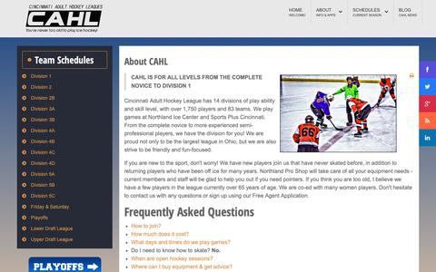Screenshot of FAQ Page cincyahl.com - CAHL - Frequently Asked Questions - captured Sept. 28, 2018