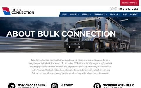 Screenshot of About Page bulkconnection.com - One of North America's Top Freight Brokers Since 1987 - captured July 8, 2018
