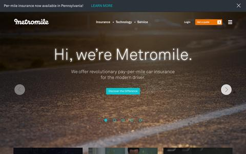 Screenshot of Home Page metromile.com - Metromile: Pay-per-mile insurance & smart driving app - captured Sept. 18, 2015