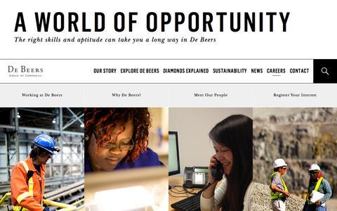 Screenshot of Jobs Page debeersgroup.com - Careers - captured Nov. 3, 2014