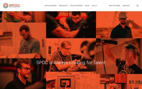 Screenshot of Jobs Page spocautomation.com - Careers | SPOC Automation - captured Sept. 10, 2019
