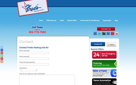 Screenshot of Contact Page fredsheatingandair.com - Contact - HVAC Service in Omaha | Freds Heating and Air - captured Nov. 25, 2016