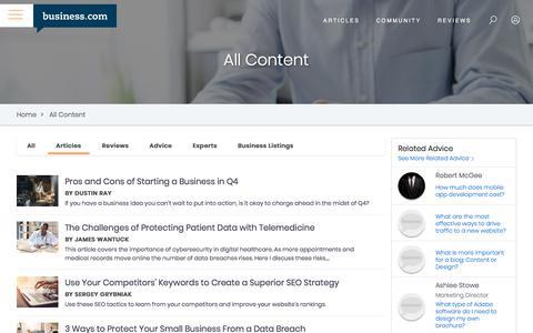 Screenshot of Press Page business.com - All Content -- Business.com: Expert Business Advice, Tips, and Resources - captured Dec. 8, 2019