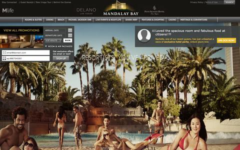 Screenshot of Home Page mandalaybay.com - Mandalay Bay Hotel & Casino - Las Vegas Resorts, Hotels & Casinos - captured Oct. 24, 2015