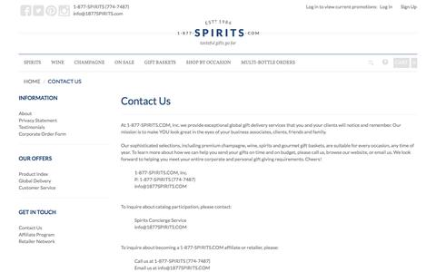 Screenshot of Contact Page 1-877-spirits.com - 1-877-SPIRITS.com - captured June 29, 2017