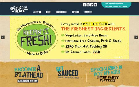 Screenshot of Home Page tijuanaflats.com - Home - Tijuana Flats - captured Feb. 1, 2016