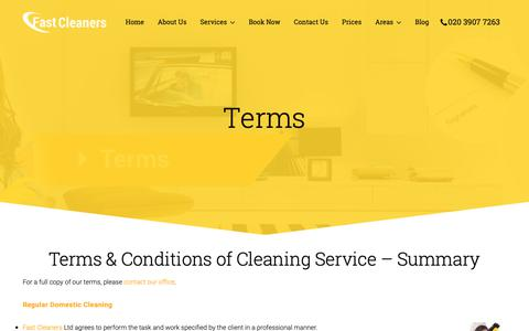 Screenshot of Terms Page fastcleaners.co.uk - Terms at Fast Cleaners Ltd | Carpet Cleaning | Top Cleaning Company - captured Oct. 10, 2018
