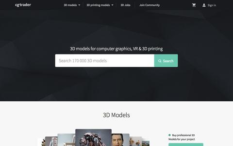 Screenshot of Home Page cgtrader.com - 3D Models - CGTrader.com - captured Oct. 28, 2015