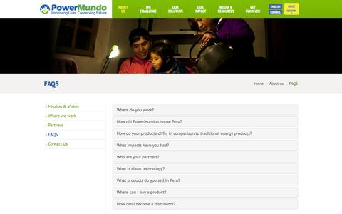 Screenshot of FAQ Page powermundo.com - FAQS | Powermundo - captured Oct. 28, 2014