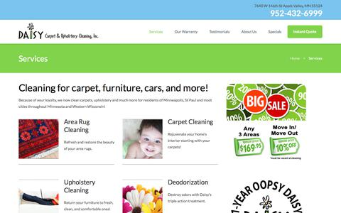 Screenshot of Services Page daisycarpetcleaning.com - Services - Twin Cities Best Carpet Cleaning Company - Daisy Carpet Cleaning - captured Oct. 12, 2017