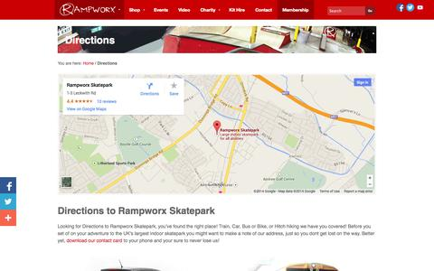 Screenshot of Maps & Directions Page rampworx.com - Directions to Rampworx Skatepark, Liverpool, UK - captured Sept. 22, 2014