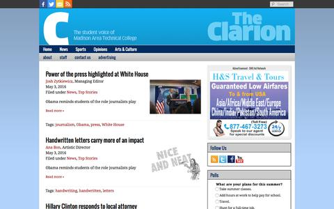 Screenshot of Press Page theonlineclarion.com - News Archives - The Clarion - captured May 24, 2016