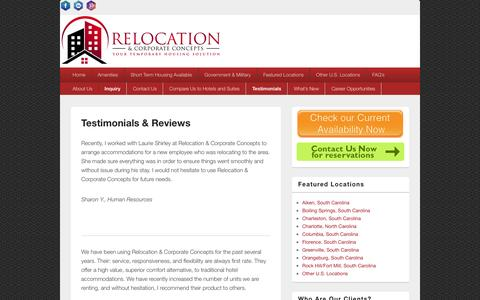 Screenshot of Testimonials Page temp-housing.com - Testimonials & Reviews - Relocation & Corporate Concepts - captured Feb. 14, 2016