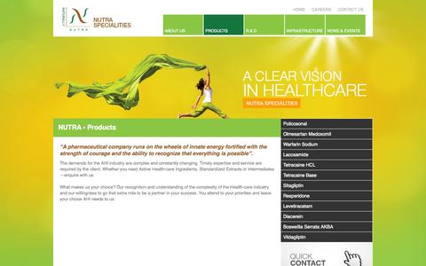 Screenshot of Products Page nutraforlife.com - NUTRA SPECIALITIES - captured Oct. 6, 2014