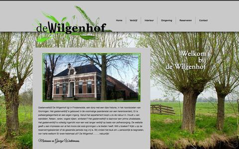Screenshot of Home Page de-wilgenhof.nl - Appartement in Gastenverblijf huren Groningen   De Wilgenhof - captured Jan. 26, 2016
