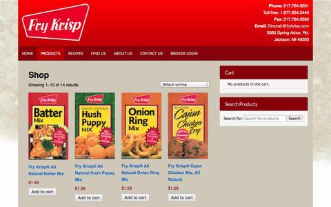 Screenshot of Products Page frykrisp.com - Products Archive - Fry Krisp - captured Nov. 3, 2014