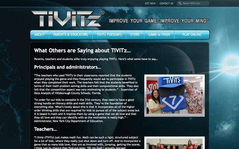 Screenshot of Testimonials Page tivitz.com - Testimonials - TiViTz Math Game - captured Oct. 1, 2014