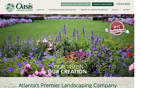 Screenshot of Home Page oasislandscape.com - Landscaping Atlanta - Oasis Landscapes and Irrigation - captured Aug. 16, 2015
