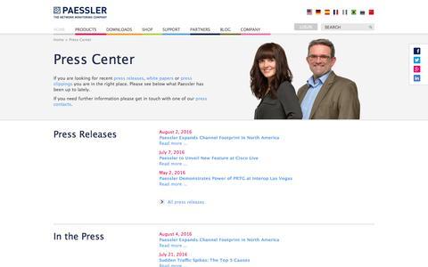 Screenshot of Press Page paessler.com - Paessler AG - Press Releases - captured Aug. 22, 2016