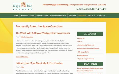 Screenshot of FAQ Page mapletreefunding.com - Mortgage FAQs from Maple Tree Funding: Home Loans in Albany, Glens Falls & NYS | Maple Tree Funding - captured Oct. 27, 2014
