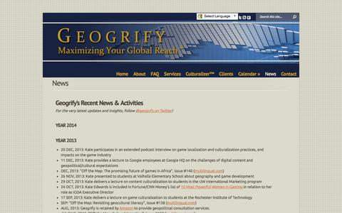Screenshot of Press Page geogrify.com - News | Geogrify - captured Oct. 2, 2014