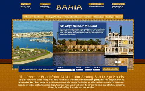 Screenshot of Home Page bahiahotel.com - San Diego Hotels | Bahia Resort Hotel, San Diego, CA - captured Sept. 18, 2014
