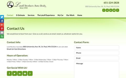 Screenshot of Contact Page latuffbrothers.com - Auto Body Shop St Paul, Minneapolis, Roseville MN | Latuff Brothers Auto Body - captured Dec. 14, 2018