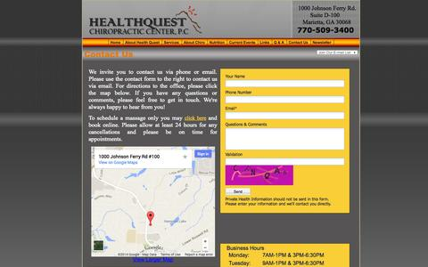 Screenshot of Contact Page healthquestchiro.com - Dr. Christopher Rechter, DC  Justin Fierro, DC, Contact Us, Marietta Chiropractor GA - captured Oct. 2, 2014