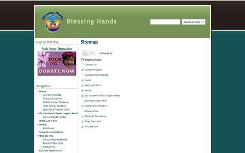 Screenshot of Site Map Page google.com - Sitemap - Blessing Hands - captured July 8, 2018