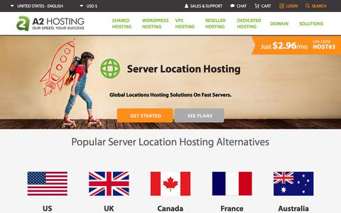 Screenshot of Locations Page a2hosting.com - Server Location Hosting | BEST International Web Hosting 2019 - captured Oct. 11, 2019