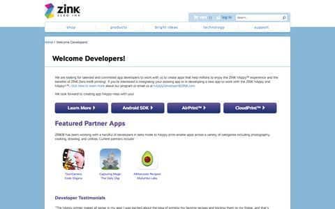 Screenshot of Developers Page zink.com - Welcome Developers! | ZINK® - captured Feb. 17, 2016