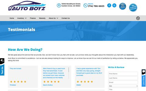 Screenshot of Testimonials Page autoboyz.net - Testimonials - Auto Boyz - captured Oct. 4, 2018
