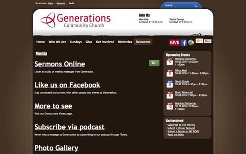 Screenshot of Press Page g2c.net - Media - Generations Community Church - captured Oct. 2, 2014