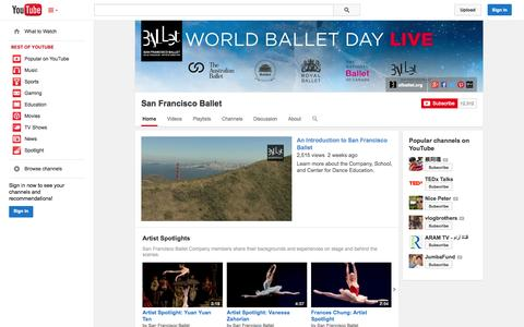 Screenshot of YouTube Page youtube.com - San Francisco Ballet  - YouTube - captured Oct. 23, 2014