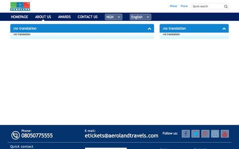 Screenshot of About Page aerolandtravels.com - AEROLAND TRAVELS - captured Oct. 7, 2017