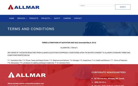 Screenshot of Terms Page allmar.com - TERMS AND CONDITIONS – Allmar Inc. - captured Nov. 20, 2016