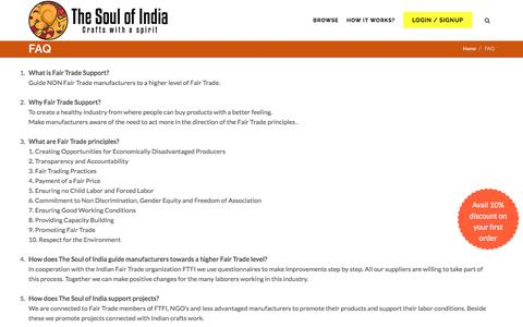 Screenshot of FAQ Page thesoulofindia.com - Indian Products for Europe | TheSoulofIndia.com - captured Aug. 15, 2016