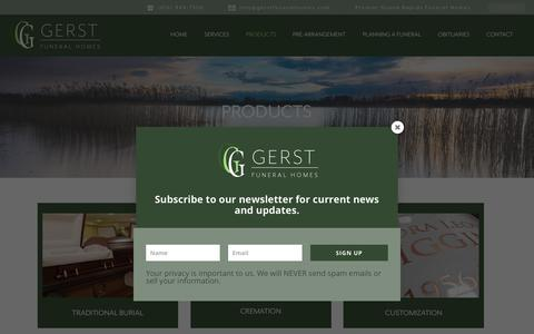 Screenshot of Products Page gerstfuneralhomes.com - Products - Gerst Funeral Homes - captured July 3, 2018