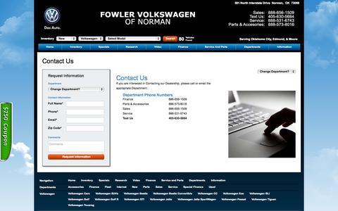 Screenshot of Contact Page fowlervw.com - Volkswagen Dealership | Norman Oklahoma - captured Oct. 6, 2014