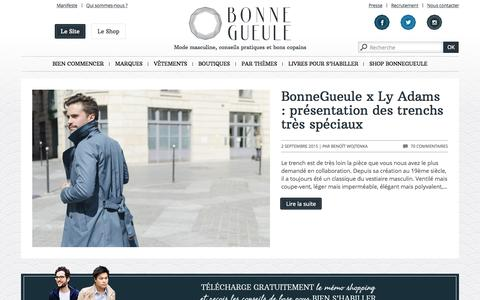 Screenshot of Home Page bonnegueule.fr - Mode homme | Conseils en style et Vêtements BonneGueule - captured Sept. 4, 2015