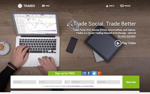 Screenshot of Home Page tradeo.com - Trade FX, CFDs, Commodities and indices together - captured Oct. 19, 2015