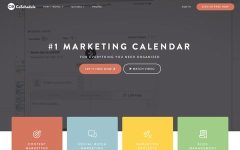 Screenshot of Home Page coschedule.com - CoSchedule - The Best Content Marketing Editorial Calendar Software - captured Feb. 17, 2017