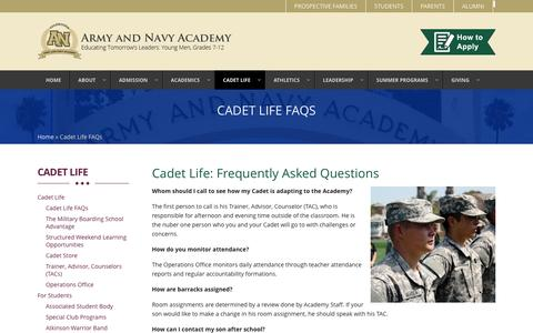 Screenshot of FAQ Page armyandnavyacademy.org - Frequently Asked Questions | Army and Navy Academy | - captured July 26, 2016